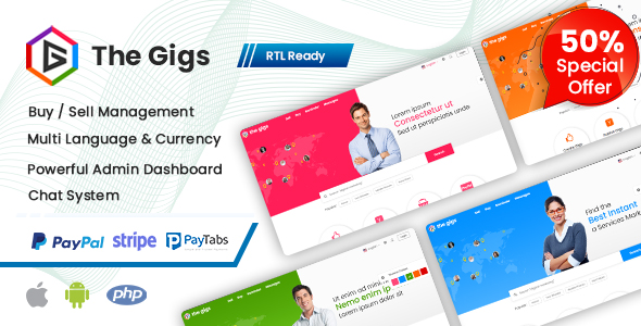 Thegigs -  Freelance Marketplace Script with admin panel (Web + Android + IOS)