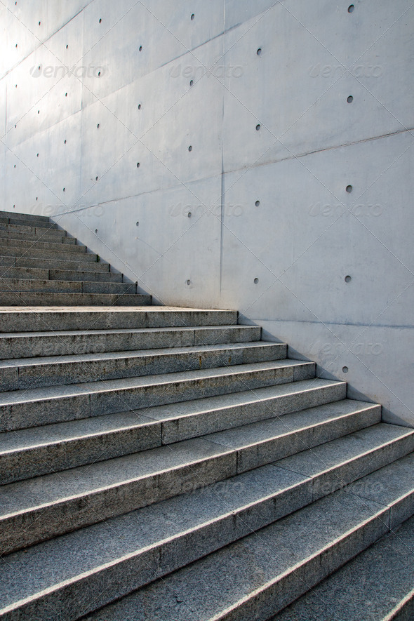 Stairs in front of a wall - Stock Photo - Images