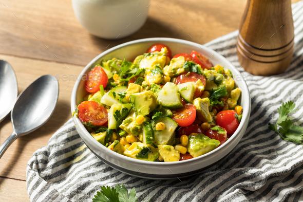 Healthy Organic Avocado Tomato Salad - Stock Photo - Images