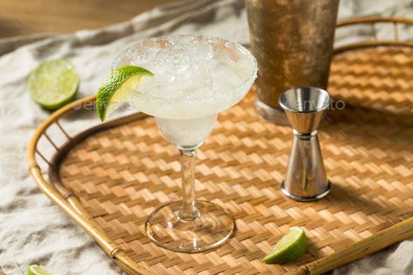 Refreshing Cold Boozy Frozen Tequila Margarita - Stock Photo - Images