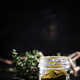 Seasoning, dried caucasian herbs, black background, selective focus - PhotoDune Item for Sale