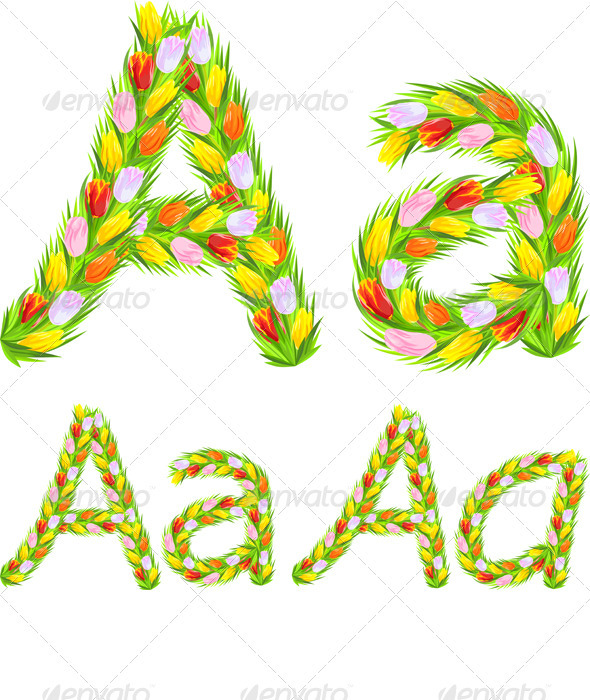Vector font type letter A made from flower tulip - Decorative Symbols Decorative