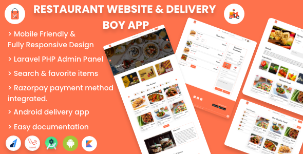 Single restaurant food ordering Website and Delivery Boy App with Admin Panel