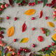 Autumn background of berries, small wild apples, acorns and leaves on linen textile background - PhotoDune Item for Sale