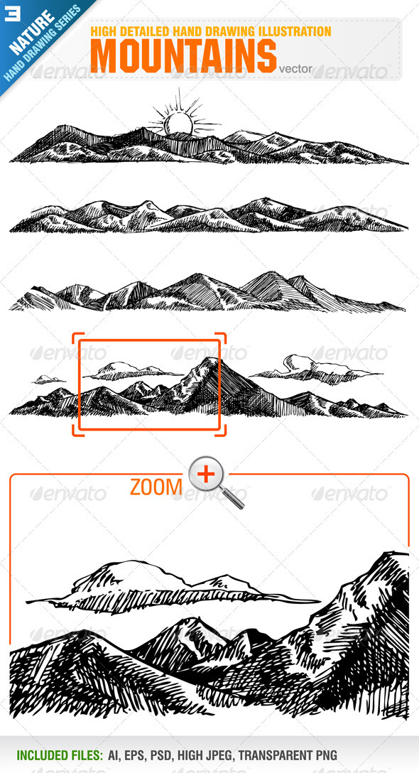 4 Hand Drawing Mountains  - Nature Conceptual