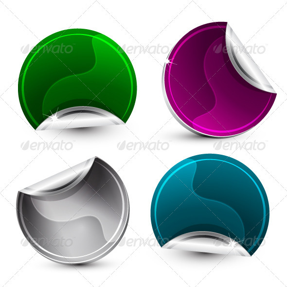 Glossy Corner Stickers - Web Elements Vectors