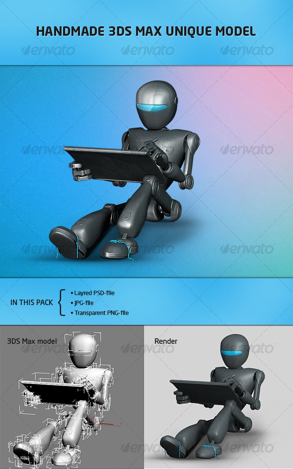 Futuristic robot for website-portfolio - Characters Illustrations