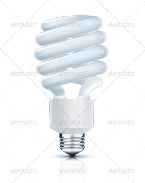 Compact Fluorescent Lightbulb - Objects Vectors