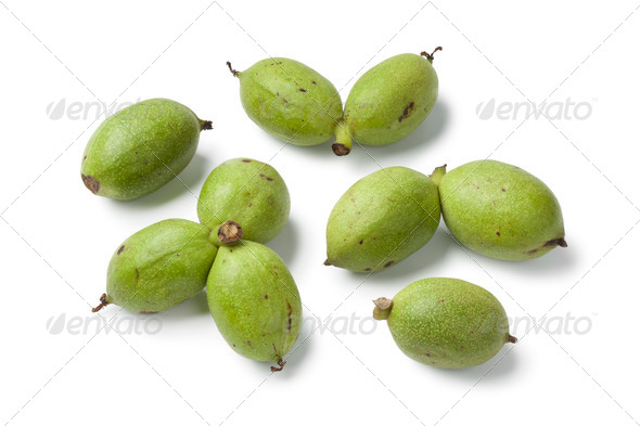 Fresh green walnuts - Stock Photo - Images