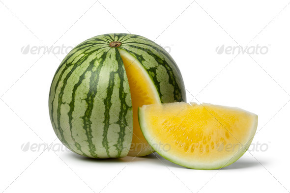 Seedless yellow watermelon - Stock Photo - Images