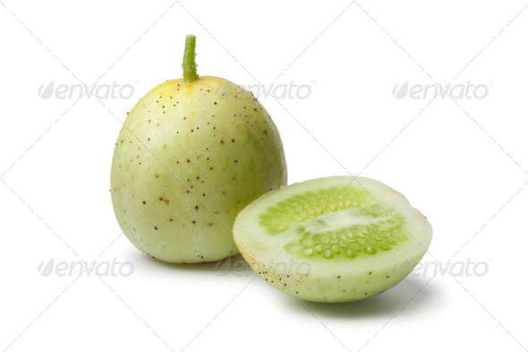 Whole and half Apple cucumber - Stock Photo - Images
