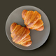 two fresh croissants on grey plate - PhotoDune Item for Sale