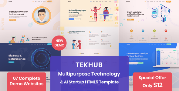 Tekhub - Multipurpose Technology, AI Startup & SAAS HTML5 Template