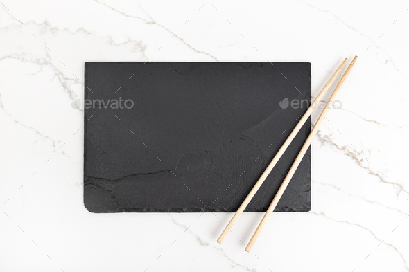 Empty Black slate Tray Plate and chopsticks - Stock Photo - Images