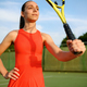 Female tennis player with racket on outdoor court - PhotoDune Item for Sale