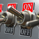 Row of retro toggle switch ON OFF on metal background. - PhotoDune Item for Sale