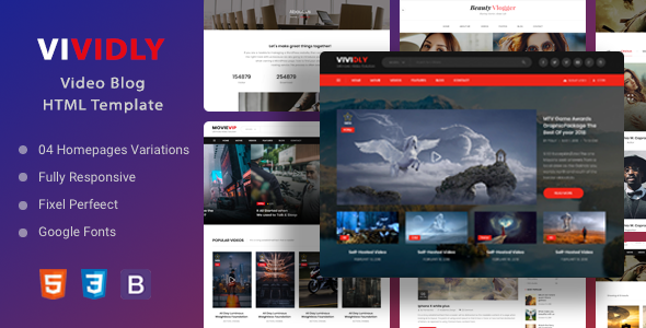 Vividly | Video Blog HTML Template