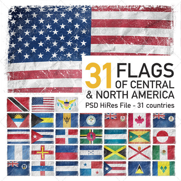 Central & North America Flags (31 Countries) - Objects Illustrations