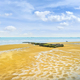 Arromanches les Bains, Beach and remains of the artificial harbor. Normandy, France. - PhotoDune Item for Sale
