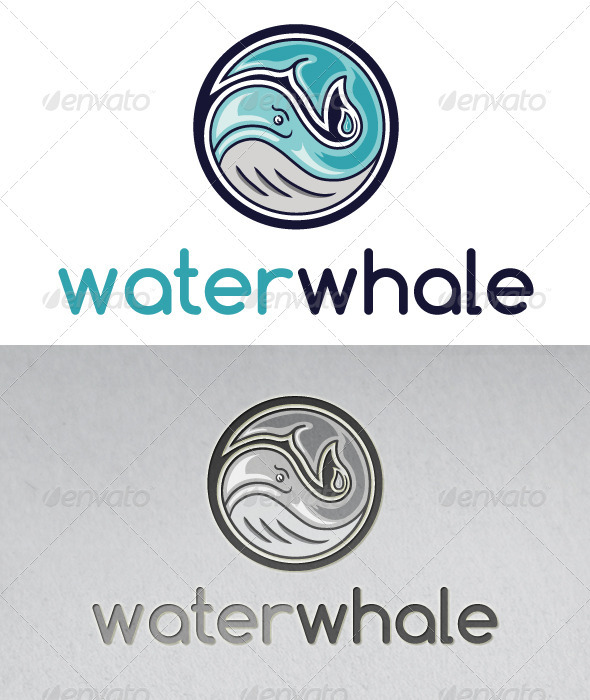 Water Whale Logo - Animals Logo Templates