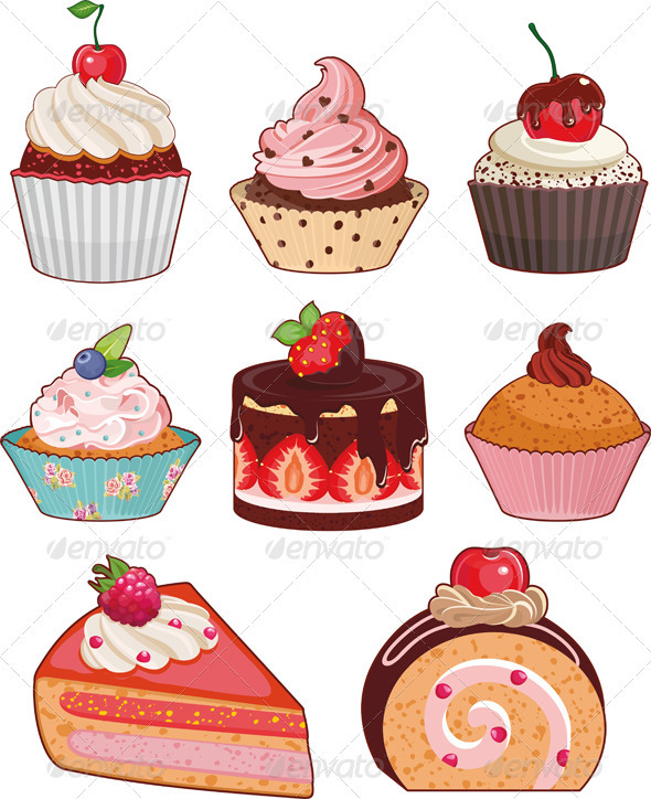 Cake Set Isolated - Food Objects