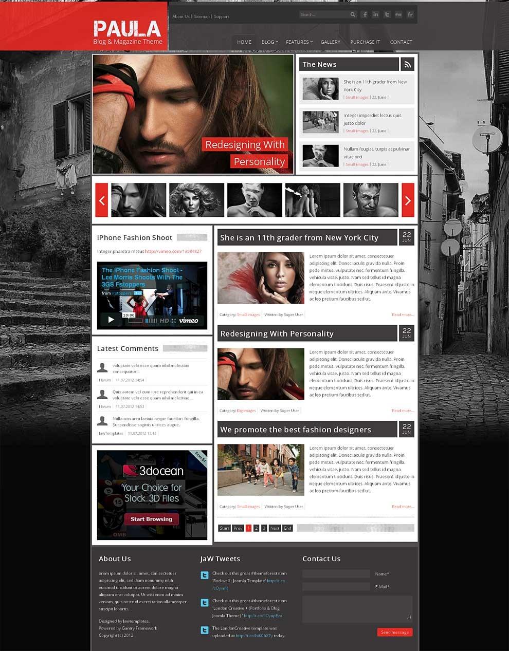 Paula - Blog & Magazine Joomla Theme by jawtemplates | ThemeForest