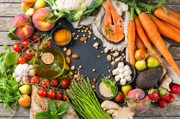 Healthy food for balanced flexitarian mediterranean diet concept - Stock Photo - Images