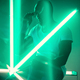 Cinematic portrait of handsome young man in neon lighted room, stylish musician - PhotoDune Item for Sale