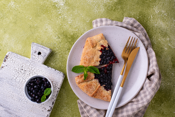 Sweet homemade galette pie with blueberry - Stock Photo - Images