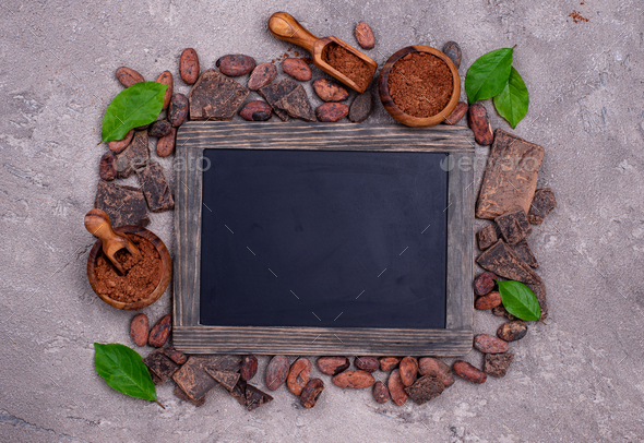Natural cocoa powder, cocoa beans and chocolate - Stock Photo - Images