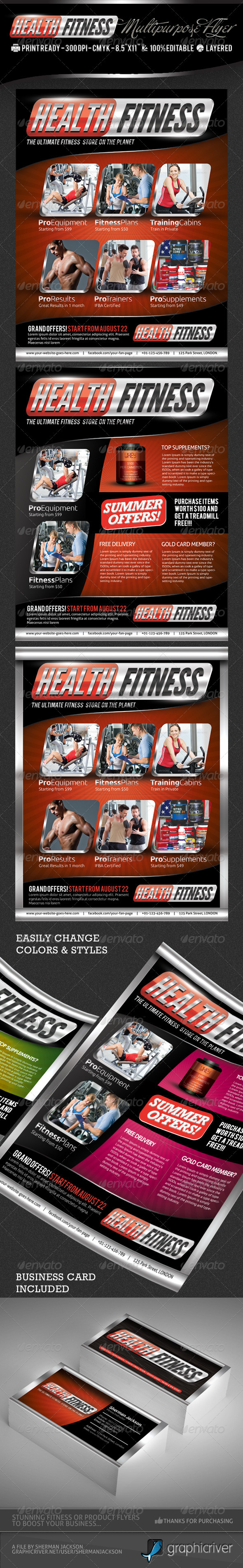 Health fitness pro flyer business card psd by shermanjackson health fitness pro flyer business card psd commerce flyers colourmoves