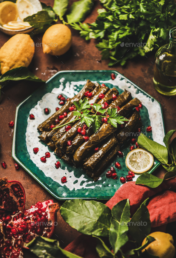 Turkish meze Sarma wine leaves with rice and spices - Stock Photo - Images