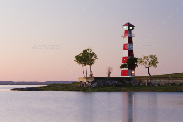 Lighthouse on a Beach - Stock Photo - Images