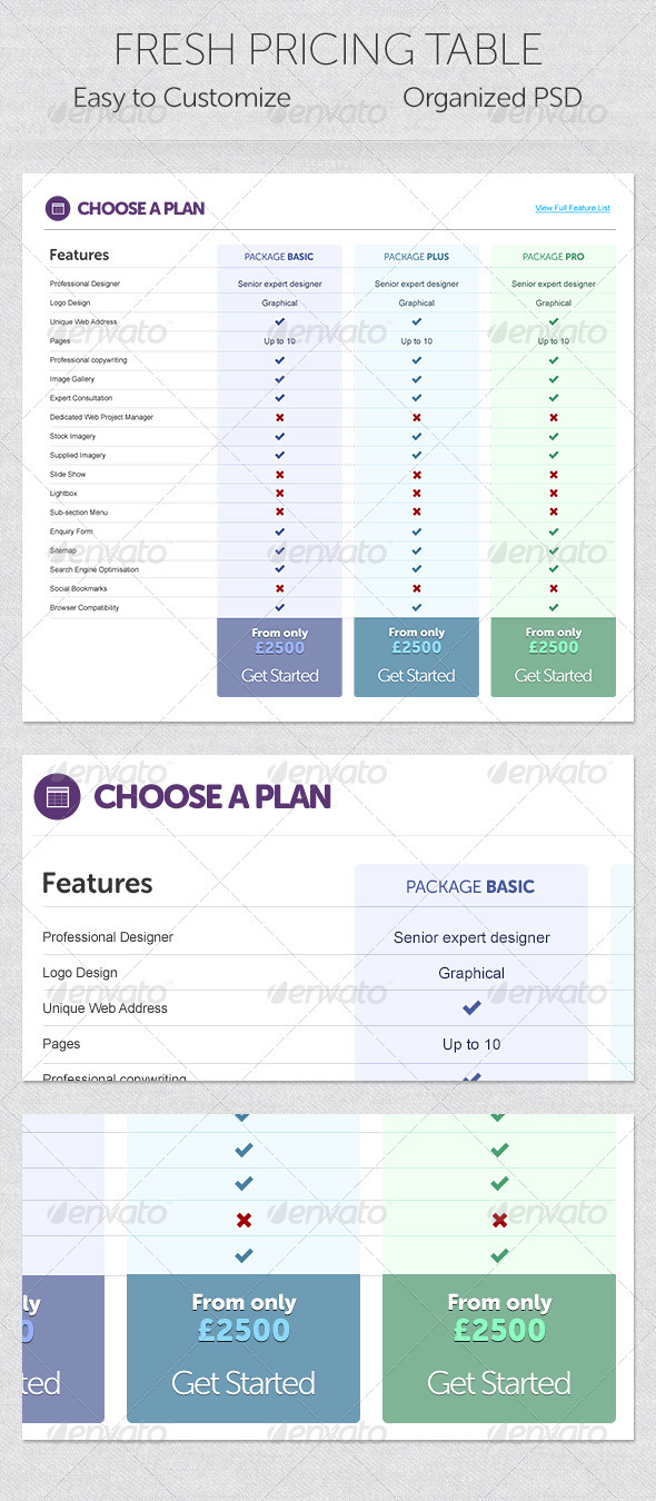 Fresh Pricing Table - Tables Web Elements