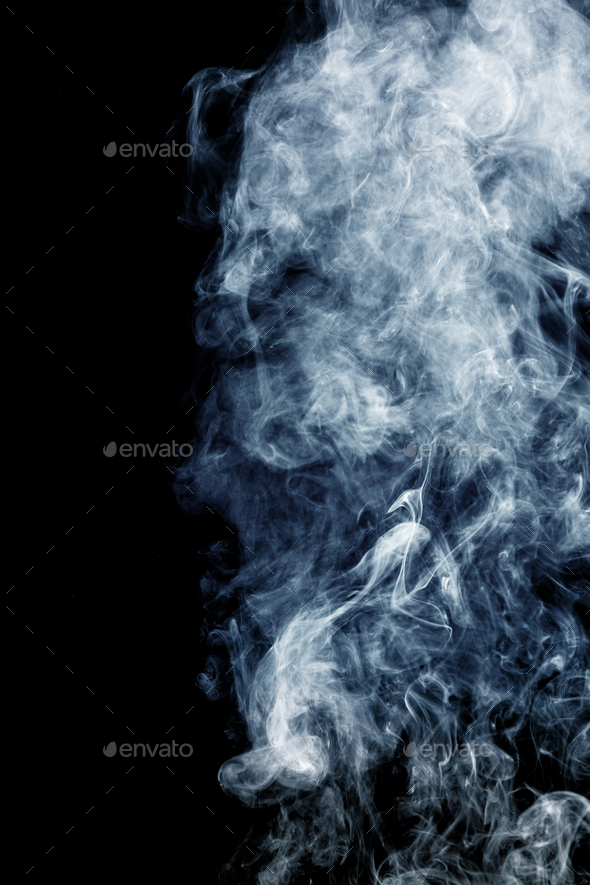 Fluffy Puffs of Smoke and Fog on Black Background - Stock Photo - Images