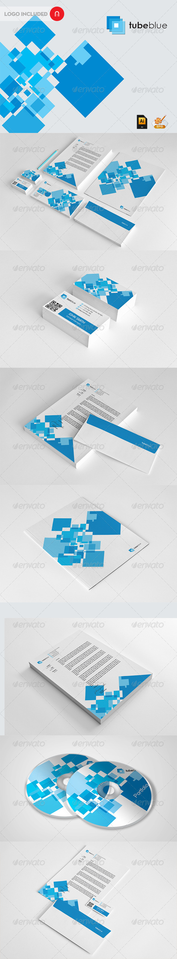 Stationary & Identity - Tube Blue - Stationery Print Templates