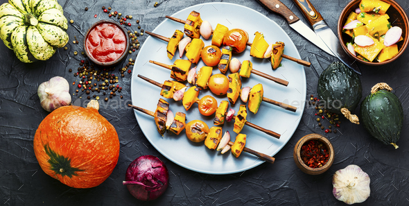 Pumpkin vegetable kebab. - Stock Photo - Images