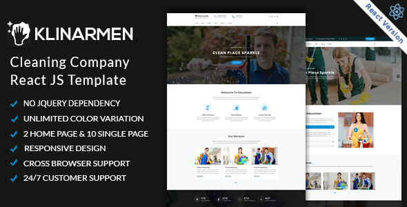 Excellent Klinarmen  - Cleaning Company React JS Responsive Website