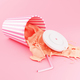 3d Plastic cup Splashing liquid on pink background. - PhotoDune Item for Sale