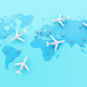 3d Airplanes flying around globe with map pointer. - PhotoDune Item for Sale