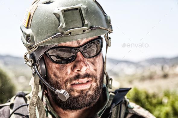 Army soldier, modern combatant shoulder portrait - Stock Photo - Images