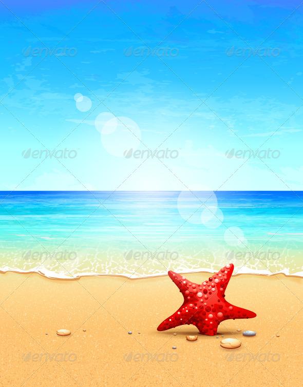 Seascape vector illustration - Landscapes Nature
