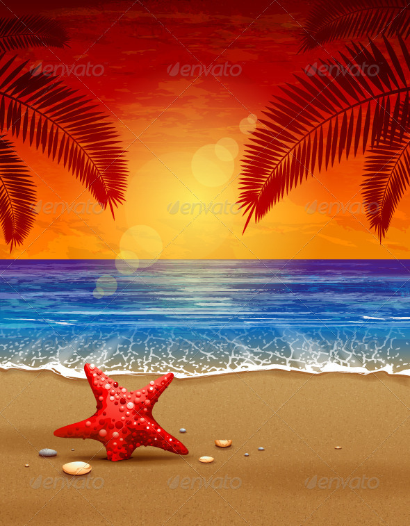 Sea sunset vector illustration - Landscapes Nature