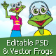 Krekolinci - 4 editable vector frogs in AI and PSD - GraphicRiver Item for Sale