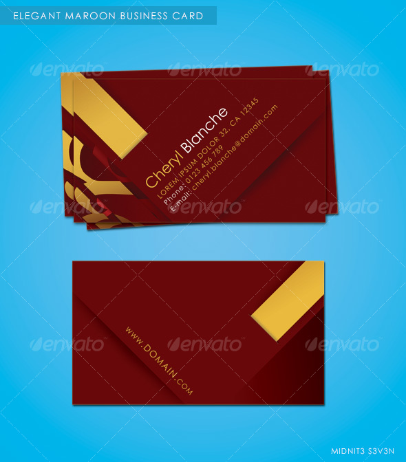 Elegant Maroon Business Card - Corporate Business Cards