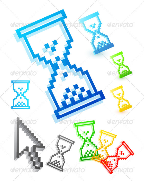 Pixelated Hourglass Web Icons - Web Elements Vectors