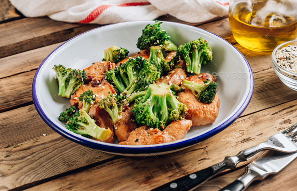 Chicken breasts and broccoli in soy sauce - Stock Photo - Images