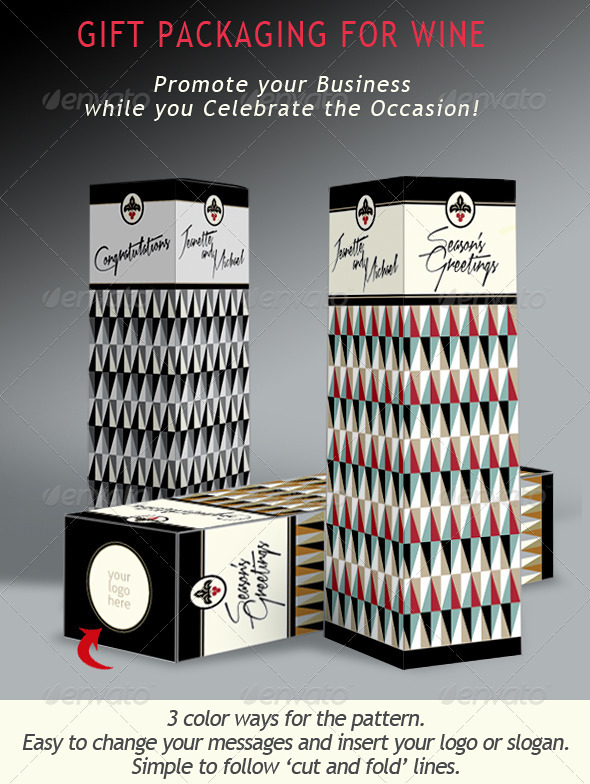 Wine & Liquor; Gift Presentation Box  - Packaging Print Templates