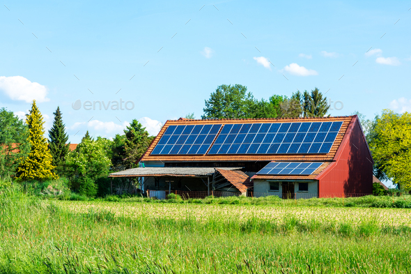 Green Energy with Solar Collectors - Stock Photo - Images