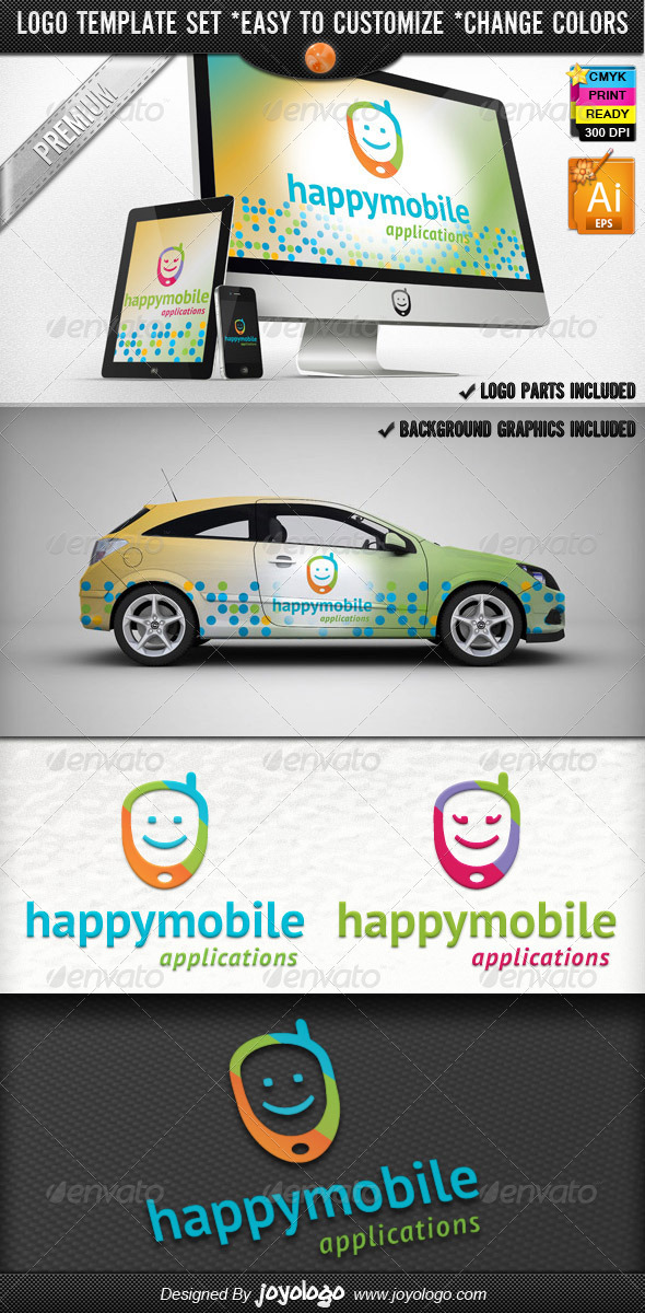 App Development Phone Happy Mobile Logo Design  - Objects Logo Templates